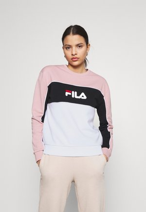 AMINA BLOCKED CREW NECK - Felpa - white/pale mauve/black