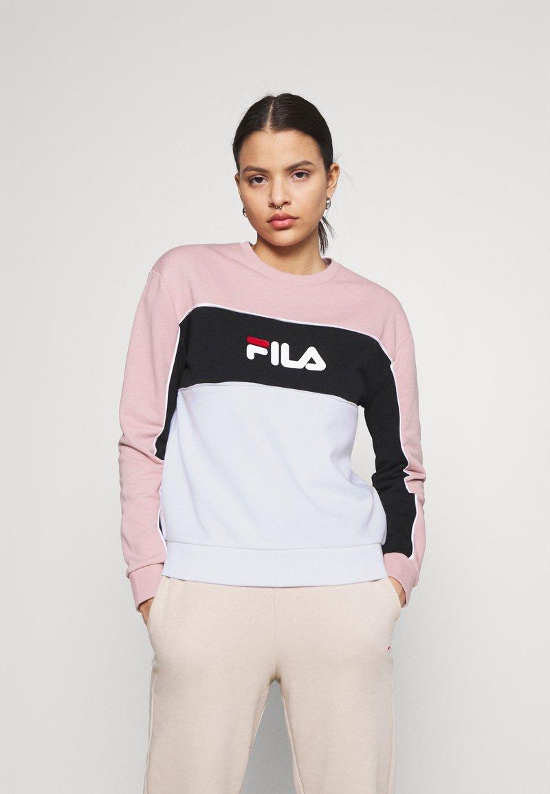 Fila - AMINA BLOCKED CREW NECK - Sweatshirt - white/pale mauve/black