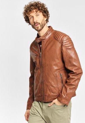 PIER NSLONTV - Leather jacket - dark camel