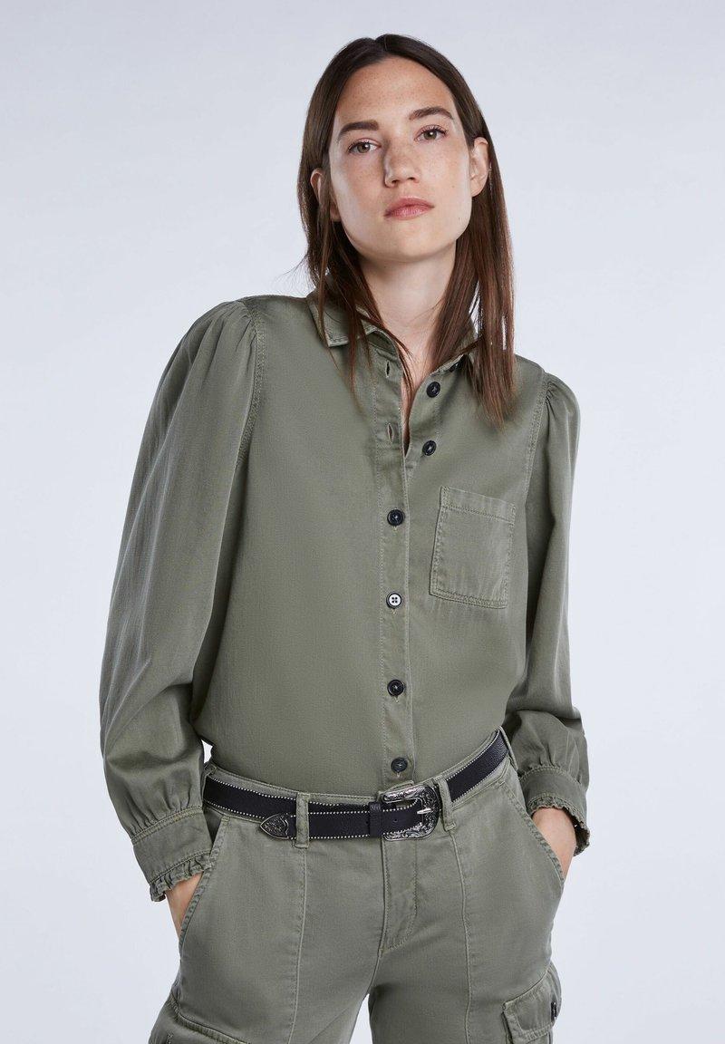 SET - Button-down blouse - khaki