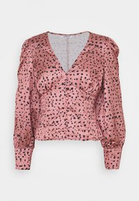 Glamorous - LONG SLEEVE PRINTED BLOUSE WITH NECK - Bluser - rose multi - 0