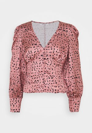 LONG SLEEVE PRINTED BLOUSE WITH NECK - Blus - rose multi