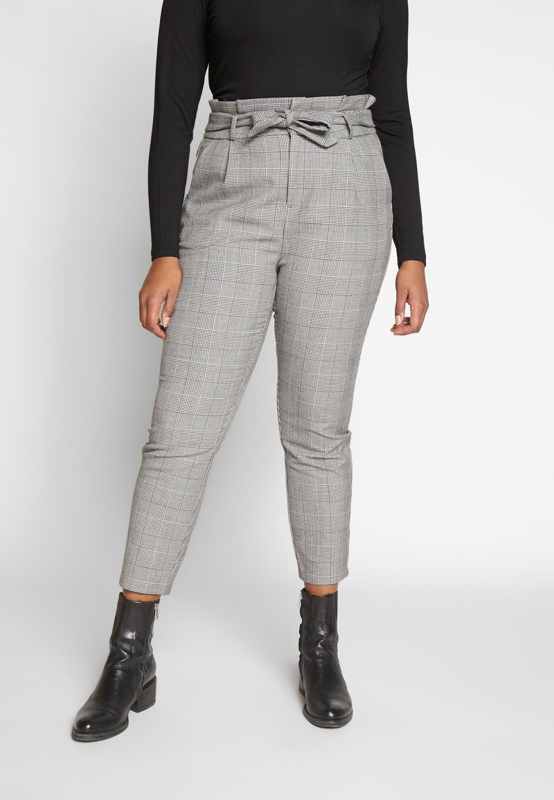 Vero Moda Curve - VMEVA LOOSE PAPERBAG CHECK - Trousers - grey