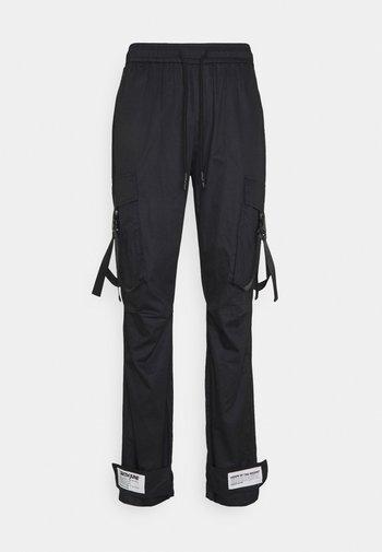 STRAP PANTS - Cargo trousers - black