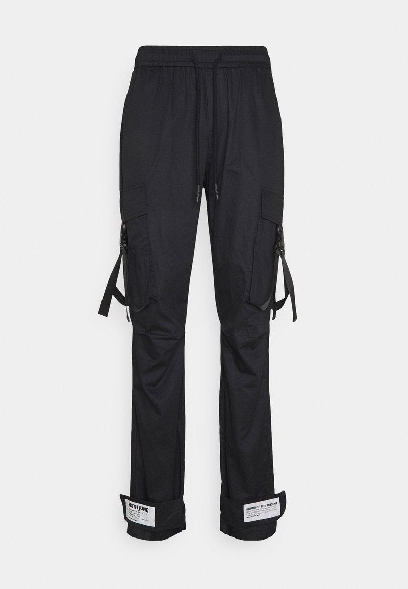 Sixth June - STRAP PANTS - Pantaloni cargo - black