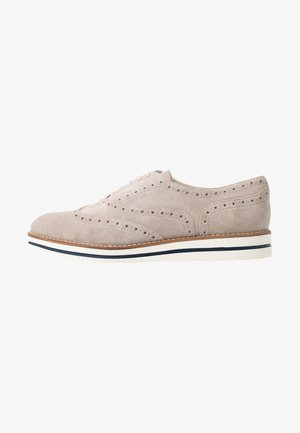 LEATHER - Casual lace-ups - light grey