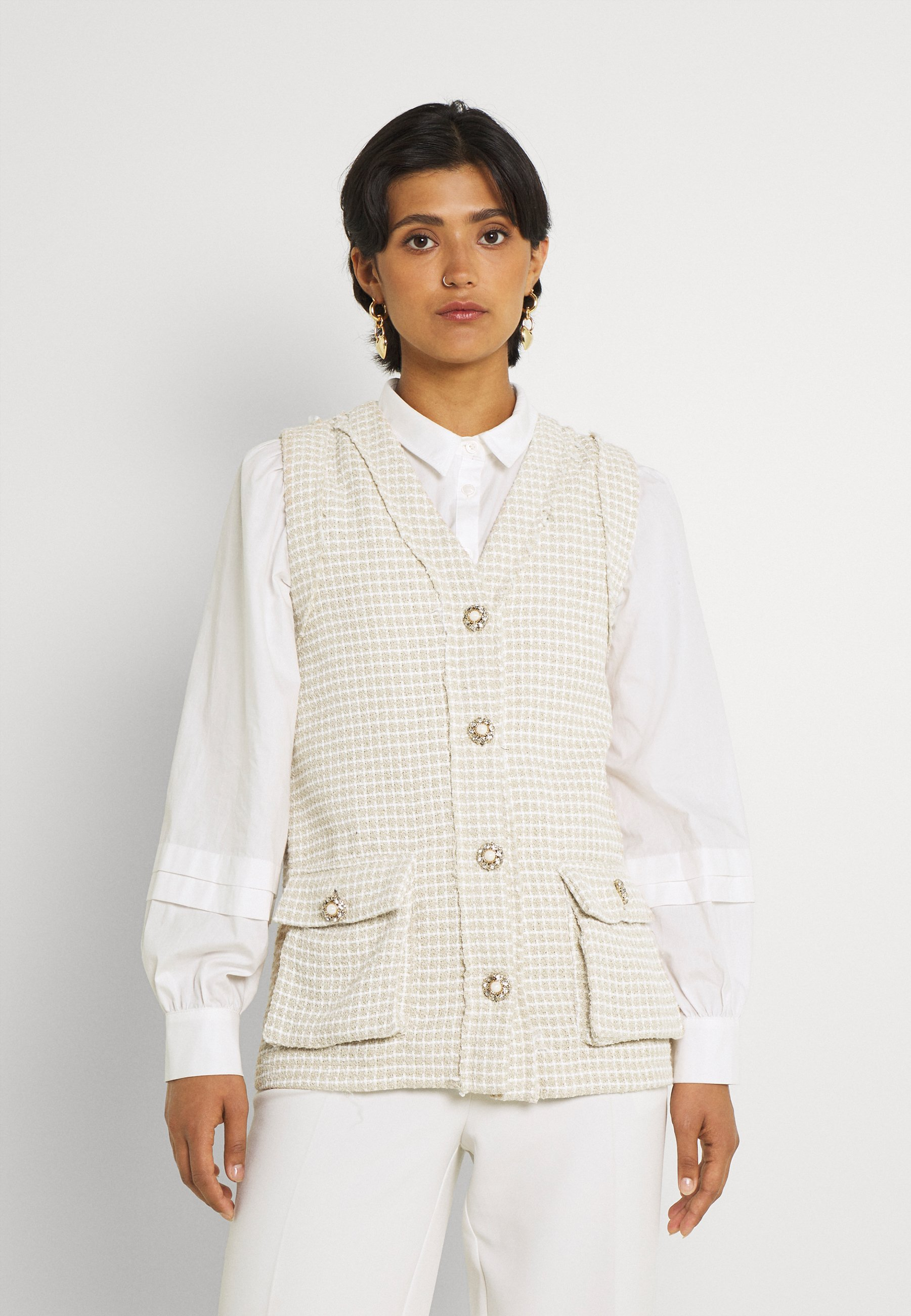 Women BOUCLE EMBELLISHED BUTTON GILE - Waistcoat