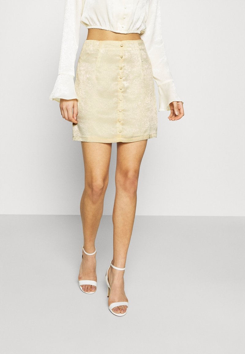 Missguided - BUTTON THROUGH MINI SKIRT - A-line skirt - yellow