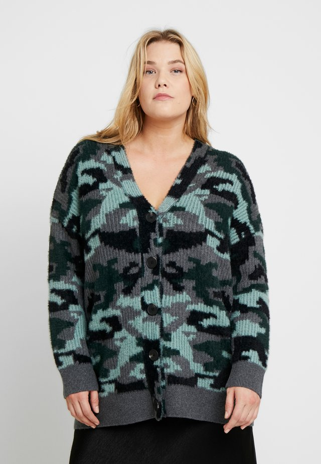 CAMO EYELASH BUTTON DOWN CARDIGAN - Chaqueta de punto - grey
