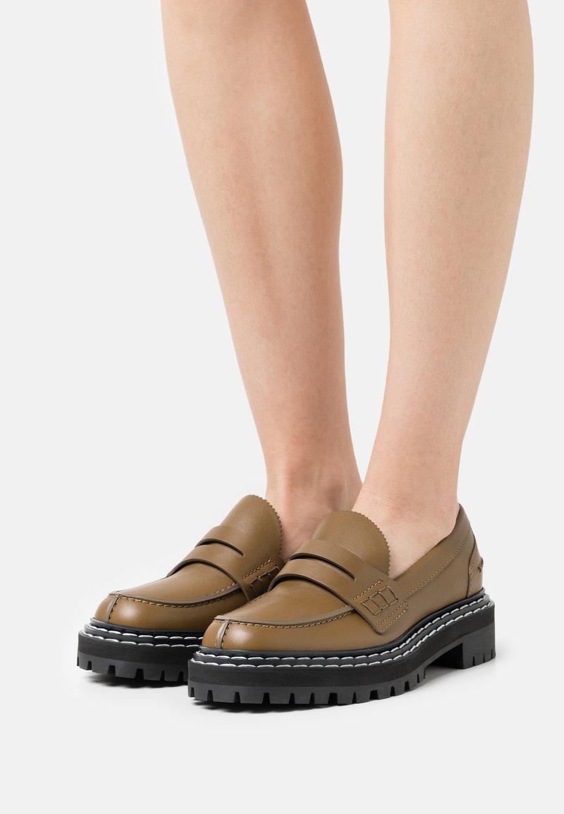 Proenza Schouler - LUG SOLE LOAFERS - Nazouvací boty - khaki
