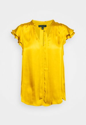 FLUTTER SLEEVE TIE NECK SOLIDS - Blusa - golden yellow