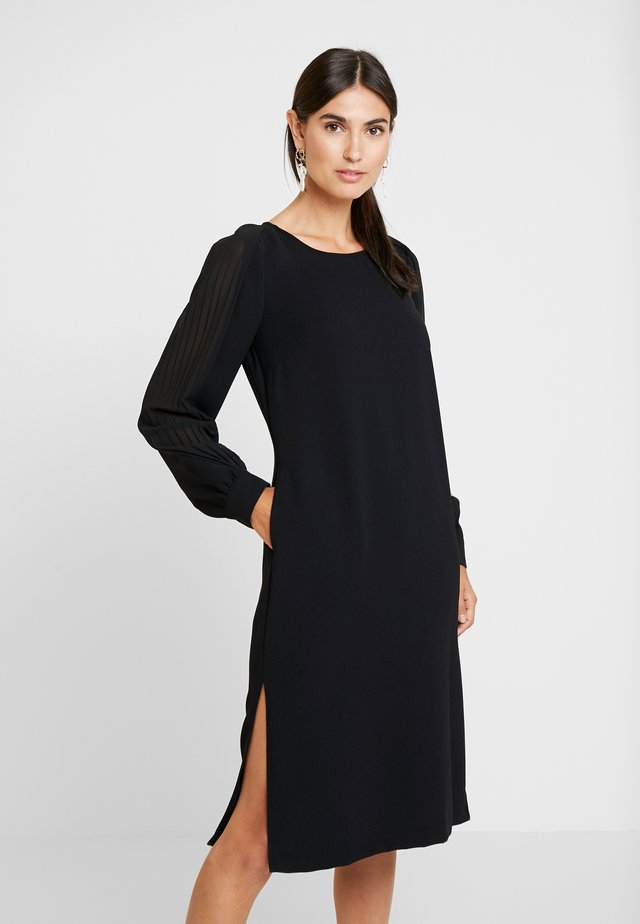 DRESS WITH PLISSEE SLEEVES - Vestito estivo - black