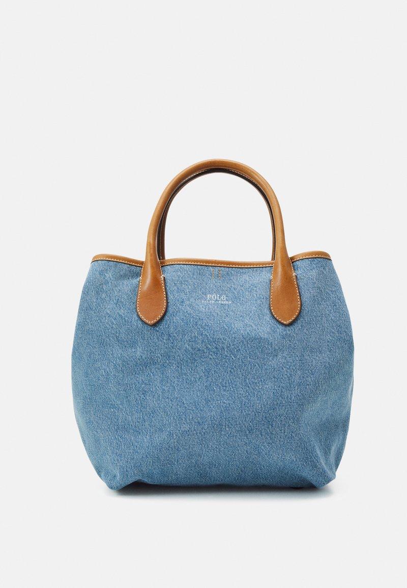 Polo Ralph Lauren - OPEN TOTE - Handbag - light blue/cuoio