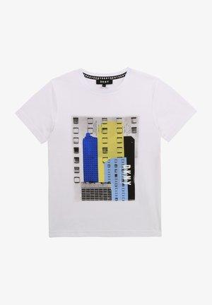 T-shirt print - blanc bleu
