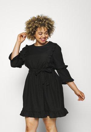 SKATER DRESS WITH TIE WAIST - Sukienka letnia - black