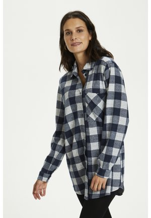 BPKADIA - Button-down blouse - dark navy check melange