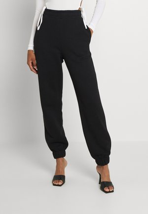 ESSENTIAL HIGH WAIST OVERSIZED JOGGERS - Tracksuit bottoms - black