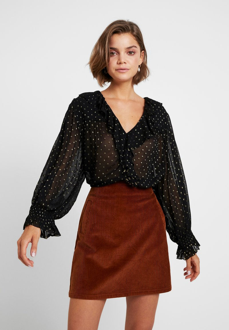 Leon & Harper - CHAMPETRE DOTS - Button-down blouse - black iris