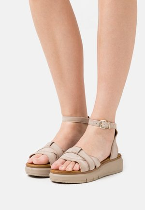 LEATHER - Sandály na platformě - taupe