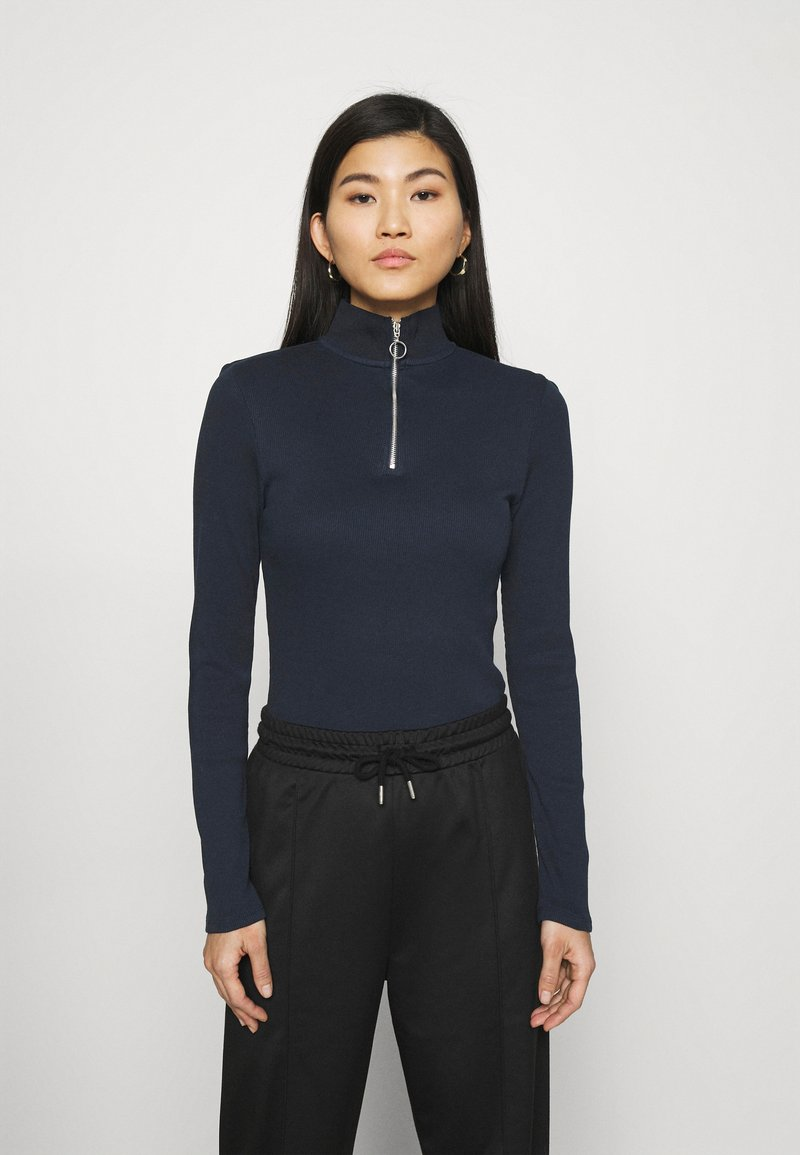 Marc O'Polo DENIM - LONGSLEEVE WITH ZIPPER SPECIAL COLLAR - Long sleeved top - scandinavian blue