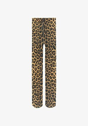 LEOPARDENMUSTER - Tights - black