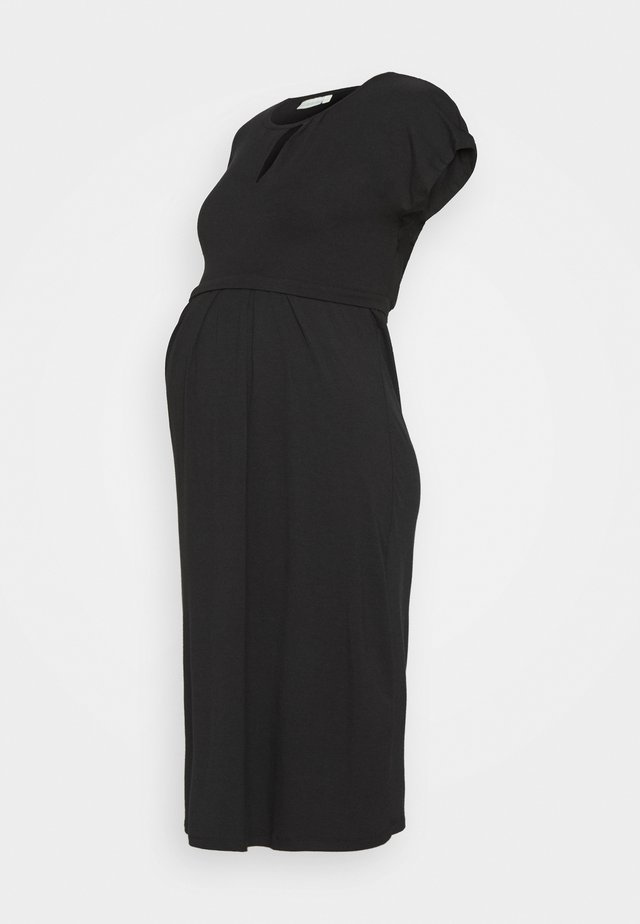 KEYHOLE PLEATED MATERNITY AND NURSING DRESS - Jerseykjole - black