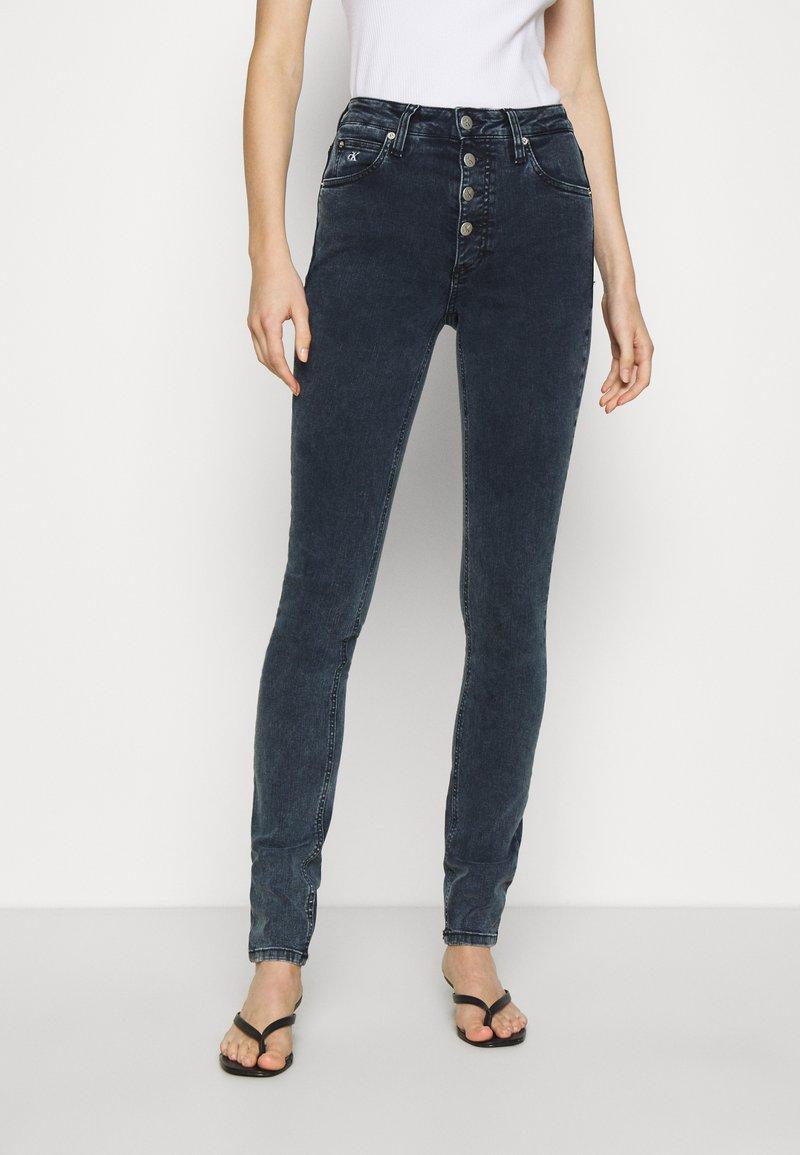Calvin Klein Jeans - HIGH RISE SKINNY - Jeans Skinny Fit - blue grey shank