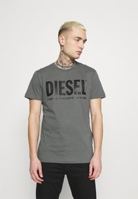 Diesel - T-DIEGO-LOGO - Print T-shirt - grey - 0
