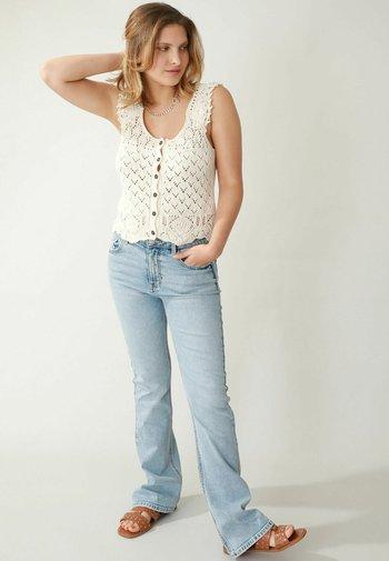 MID WAIST - Bootcut jeans - bleached denim