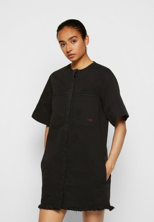 FRAYED HEM MINI DRESS - Dongerikjole - black