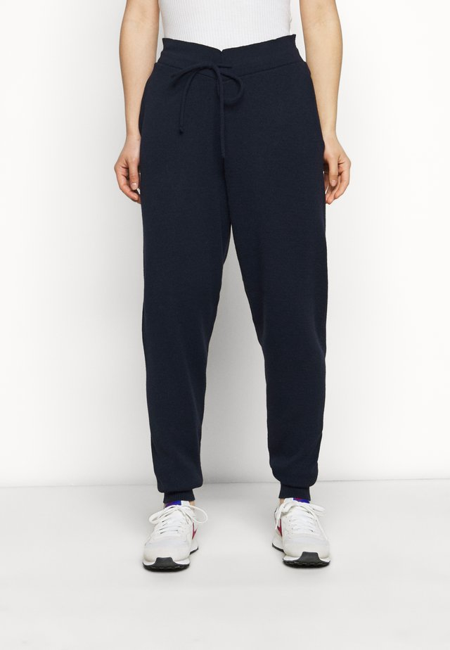 CUFFED JOGGERS WITH FRONT TIE DETAIL - Pantaloni sportivi - dark navy