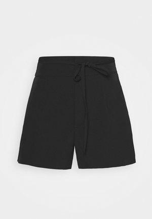 PLUS LACE UP BELT HIGH WAIST - Shorts - black