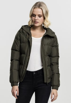 LADIES HOODED PUFFER - Winter jacket - darkolive