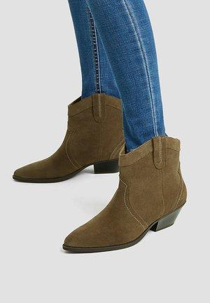 Cowboy/biker ankle boot - sand