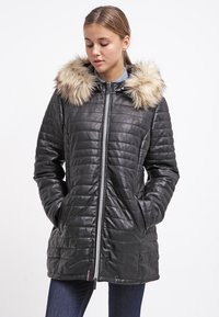 Oakwood - DUVET - LEATHER JACKET - Leather jacket - black - 0