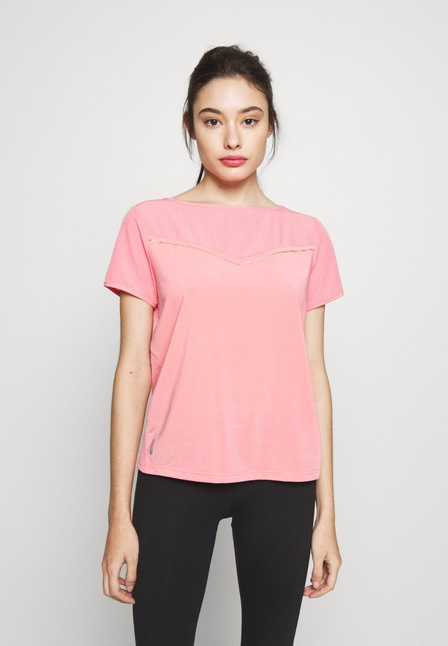 ONPJEWEL BOATNECK TRAINING TEE - T-shirt imprimé - strawberry pink/white gold