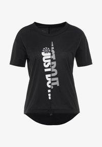 W NK ICNCLSH TOP SS - T-Shirt print - black/white/reflective silver