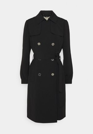 DOUBLE BREASTED PUFF SLEEVE DRAPERY - Trenchcoat - black