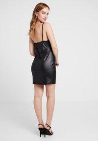 Missguided Petite - TIE FRONT CAMI MINI DRESS - Shift dress - black - 2