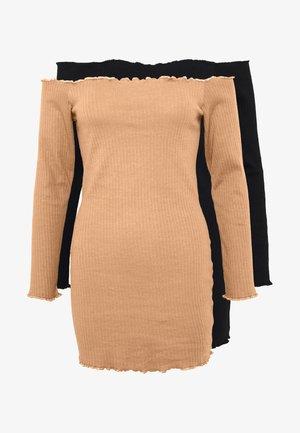 2 PACK LETTUCE HEM MINI DRESS - Korte jurk - camel/black