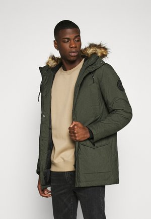 Winter coat - dark green melange