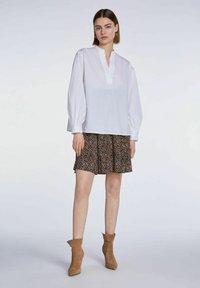 SET - A-line skirt - dark brown camel - 1