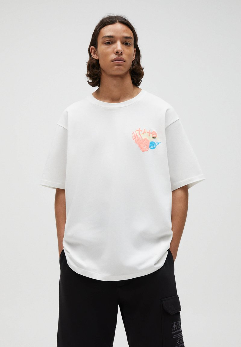 PULL&BEAR - T-shirt con stampa - white