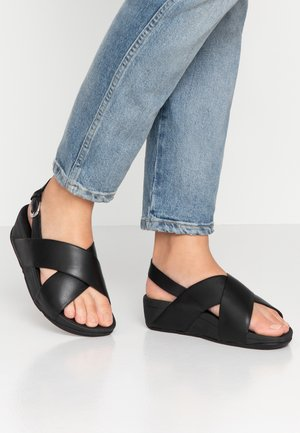 LULU CROSS BACK-STRAP - Platform sandals - black