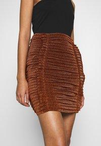 House of Holland - GATHERED MINI SKIRT - Mini skirt - bronze - 5