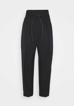 WOOL ORIGAMI PLEAT PANT WITH BELT - Trousers - black