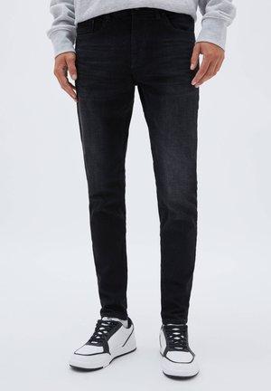 SKINNY FIT IM USED-LOOK - Jeansy Skinny Fit - black