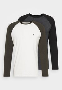 Burton Menswear London - LONG SLEEVE RAGLAN 2 PACK - Long sleeved top - grey marl - 4