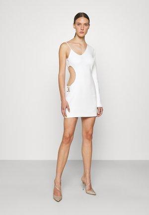 SIDE CUTOUT INSERT ONE SLEEVE MINI DRESS - Robe de soirée - white
