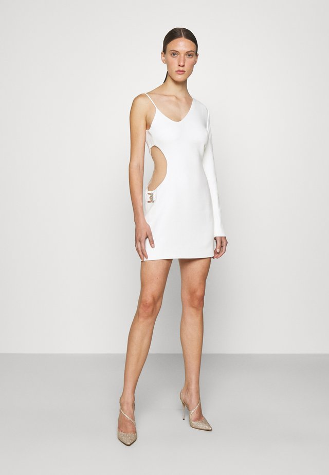 SIDE CUTOUT INSERT ONE SLEEVE MINI DRESS - Vestito elegante - white